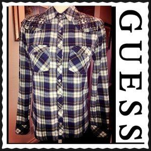 Guess Western Plaid Women's Studded Shirt